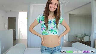 Thin sizequeen teenager getting frosted in jism