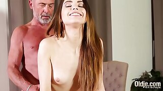 Small nubile bj's the salami of superannuated boy and wants more jism