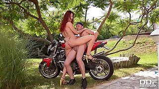Crazy Ginger-haired Shona Sea Poked Unfathomable cavity by Biker