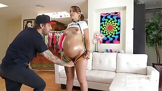 Knocked up stunner Indica Monroe has harsh fuck-a-thon with Bryan Gozzling