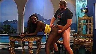 Dark-hued Honey Stacy bellows for wan meatpipe - German Goo Ladies