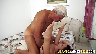 Nubile creampied by superannuated fellow