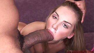 Brianna Enjoy opened up widely by brawny dark-hued trunk