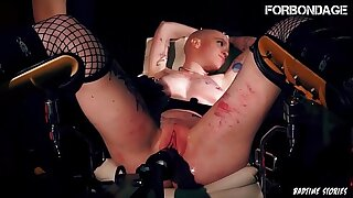 FORBONDAGE - Frightened Girl Gets Mistreated And Fucked By A Moving Toy In BDSM Chair Torture