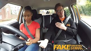 Fake Driving School ebony learner with big tits is worst driver all the more