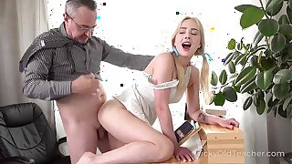 Tricky Old Teacher - Cute blonde works hard to obtain education