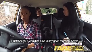 Fake Driving Teacher busty black girl fails test with lesbian examiner