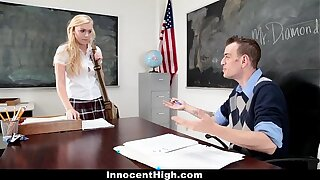 InnocentHigh - Blonde Schoolgirl Fucked Hard By Her Prof