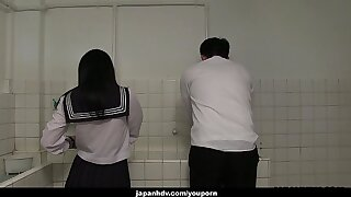 Japanese schoolgirl, Sayaka Aishiro gives great handjobs to friends, uncensored