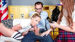 SCAM ANGELS - Slutty college girls Izzy Alkie and Sophia Lux seduce and graft their teacher