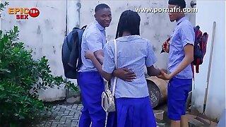 Outdoor Threesome with horny Doodad school girl behind school hostel (trailer)