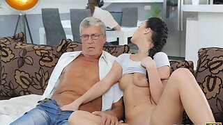 DADDY4K. Taboo intercourse of old guy and saucy brunette ends