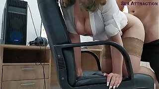 Caught His Subordinate Jerk Off, Pounded Her In The Ass, Pounded In The Mouth And Jism Inside